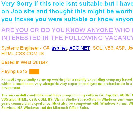 Job advert - hideous colours