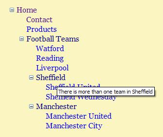 Site map screen shot